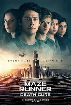 Get Maze Runner: The Death Cure DVD and Blu-ray release date, trailer, movie poster and movie stats. This sequel to Maze Runner: The Scorch Trials is the final film in the Maze Runner series, which can be described as part of the same dystopian YA. Maze Runner 3, Maze Runner Movie, Maze Runner Series, James Dashner, Dylan Thomas, Dylan O'brien, Thomas Brodie Sangster, Maze Runner Cura Mortal, The Maze Runner