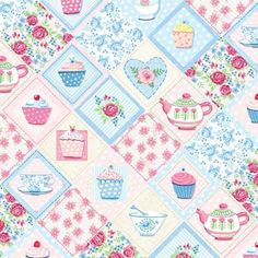 Colourful harlquin print from the fun Tea Party collection! Little squares depicting cupcakes, roses, hearts, teacups, pots arranged in a diag