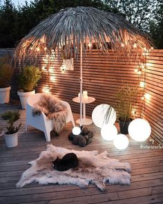 Inspired Spaces | Outdoor | Outdoor Living | Tiki Umbrella | Wood Deck