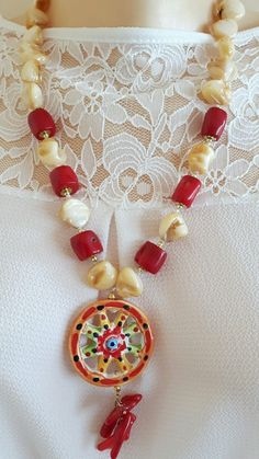 Collana  ceramica  Caltagirone, corallo e madreperla  | Orologi e gioielli, Bigiotteria, Collane e pendagli | eBay!