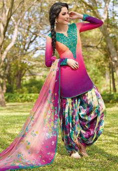 Peach and Shaded Magenta Cotton Patiala Kameez Online Shopping: KWY712