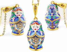 Matryoshka Russian Doll Enamel Pendant, Silver 925, Gold Plated - at Holy Trinity Store