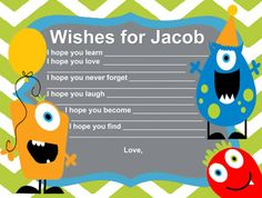 Little monster 1st birthday wish cards or baby shower free customization! Name cards jpeg digital file on Etsy, $14.95