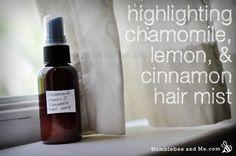 Chamomile, Lemon & Cinnamon Highlighting Hair Mist   #hairhighlighter #essentialoils #DIYpersonalcare