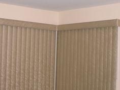 Vertical blinds in corner Patio Blinds, Patio Doors, Corner Window Treatments, Patio Umbrella Stand, Patio Tiles, Patio Lighting, Light Colors, Windows, Patio Design