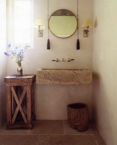 Nomadic Decorator | For the India Apartment: Rustic Pedestal and Wall-Mounted Bathroom Sinks | http://nomadicdecorator.com