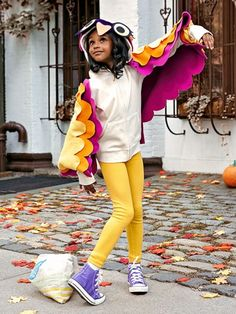 You don't have to buy a Halloween costume this year when you can transform your kid's favorite hoodie into one instead. Turn the sleeves of her favorite sweatshirt into the feathered wings of an owl. (Don't forget to add eyes and a beak to the hood!) | Do-It-Yourself Halloween Hoodie Costumes