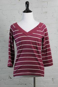 Shirt Massimo Dutti Women's Striped Red V-Neck Cotton Blouse XL/36 #ShirtMassimoDutti #Blouse #Casual
