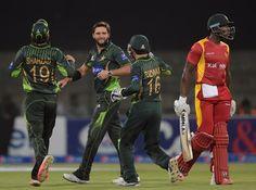 Shahid Afridi sent Vusi Sibanda back to the pavilion, Pakistan v Zimbabwe, Lahore, May 2015 Pakistan Vs, Shahid Afridi, T20 Cricket, Trend Sport, Whitewash, Zimbabwe, Sports News, Pavilion, Motorcycle Jacket