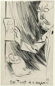 anoniem | Man 't licht in d'oogen!!!, possibly Jan de Waardt, 1881 - 1899 | Rechts houdt een kwaadkijkende man met snor, sik en bril, in zijn rechterhand een blad met het portret van een jongeman. Linksonder kruipt een persoon verschrikt weg. Mogelijk een ontwerp voor een spotprent.