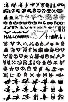 色んなハロウィンのモチーフが詰まったシルエットアイコンイラスト Halloween Logo, Halloween Kunst, Halloween Doodle, Halloween Artwork, Halloween Window, Halloween Drawings, Halloween Clipart, Vintage Halloween, Fall Halloween