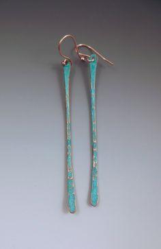 Copper Verdigris Patina Twig Earrings Long & Elegant by RedPaw Hippie Jewelry, Ethnic Jewelry, Indian Jewelry, Unique Jewelry, Jewelry Design, Hippie Boho, Jewelry Ideas, Enamel Jewelry, Copper Jewelry
