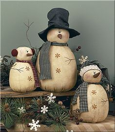 *WHIMSY ~ Whimsy Rolly Polly Snowmen Set❉
