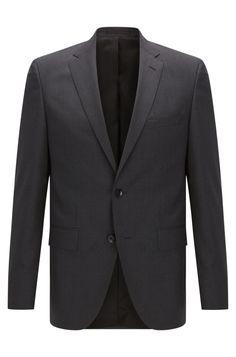 Boss Italian Virgin Wool Sport Coat, Regular Fit | Johnstons Cyl - Dark Grey 44R