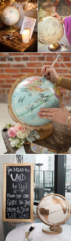 Wedding Gift Ideas Wedding globe guestbook book alternative ideas - 10 wedding guest book alternatives ideas for your Wedding. Alternative guest book ideas that will wow your wedding guest and keep the wedding elegant. Trendy Wedding, Unique Weddings, Perfect Wedding, Dream Wedding, Wedding Day, Wedding Vows, Wedding Vintage, Vintage Theme, Wedding Cakes