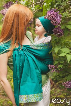 Baby ring sling - Baby Carrier - Green garden/emerald