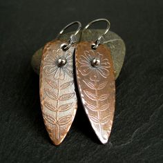 Copper Earrings with Flower, etched metal jewelry, mixed metal jewelry, shield earrings