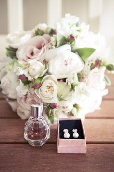 blush, green, white bouquet