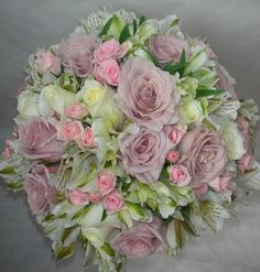 Wedding Flowers by Natalina ~ Posy Bouquet ~ Roses, Spray Roses,  Alstroemeria ~ Antique Roses, Vendella Roses, Pink Spray Roses, White/Green Alstroemeria ~ Lilac, Pale Pink, Cream and White Tones ~ servicing Gold Coast, Tamborine Mountain and Brisbane areas ~ Delivery worldwide available also for Silk, Real Touch and Artificial Wedding Bouquets