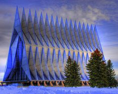 The United States Air Force Academy Cadet Chapel, completed in 1962.  North of Colorado Springs in El Paso County, Colorado