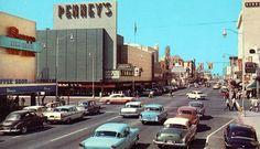 Here is a look west on Washington Street in Phoenix, Arizona. Phoenix Arizona, Yuma Arizona, Arizona Usa, Arizona History, Cities, Downtown Phoenix, Washington Street, Us Cars, Old Postcards