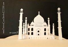 Taj Mahal PopUp Card Original Art Printable PATTERN PopUp Card Make by PetrinaCaseStudio