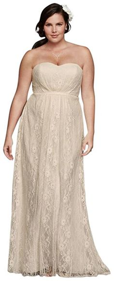 6a6d70221a7 Linear Lace Plus Size Wedding Dress with Ribbon Style 9WG3782