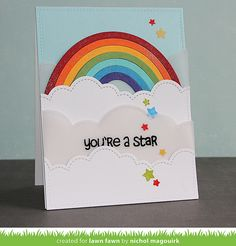 Lawn Fawn - Puffy Cloud Borders, Rainbow, Stitched Rectangle Stackables, Lucky Stars  _ card by Nichol for Lawn Fawn Design Team