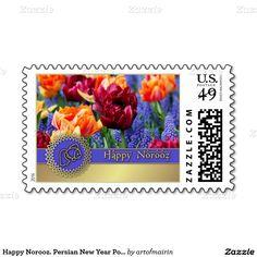 نوروز مبارک .Norooz Mobarak / Muslim Spring Festival / Persian New Year Postage Stamps.  Matching cards, postage stamps and other products available in the Muslim Holidays / Events Category of the artofmairin store at zazzle.com