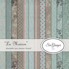 """Scraphouse. Papeles para scrapbooking """"La maison"""" diseñados por Marisa Bernal para Sra. Granger en 2013.  https://es.pinterest.com/naltin/colecci%C3%B3n-de-papeles-la-maison/"""