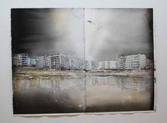 Lars Lerin Lars Lerin )Lars Lerin was born and raised in Munkfors, Värmland. He studied at the school of Gerlesborg Watercolor Artists, Artist Painting, Watercolor And Ink, Watercolor Paintings, Watercolours, Street Painting, City Scene, Art Academy, Light Art