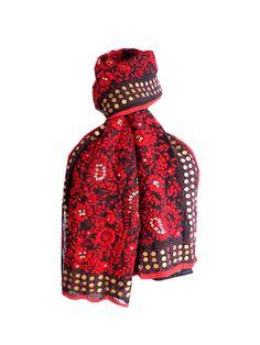 Heavy Georgette Phulkari Stole - Red&Black