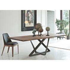 Table Bontempi Millenium en noyer massif - 250x106cm - pieds métalliques anthracite