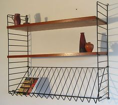 retro metal string shelving Metal Shelves, Shelving, 70s Bedroom, Retro Design, Good Old, Kitchen Ideas, Bedroom Ideas, Kitchens, Old Things