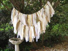 Wedding Garland, Wedding Banner, Wedding Decoration, Rustic Wedding Decor, Fabric Garland, Shabby Cottage Chic, Bridal Shower Decor by AWorkofHeartSA on Etsy, $75.00