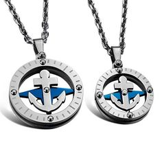 JBlue Jewelry Men,Women's Stainless Steel Pendant Necklace CZ Silver Blue Anchor Ring Love Valentine's Couples His & Hers Set-with 20 and 23 inch Chain (with Gift Bag) Relationship Jewelry, Steampunk Belt, Steampunk Accessories, Love Valentines, Couple Gifts, Fashion Necklace, Gold, Pendant Necklace, Chain