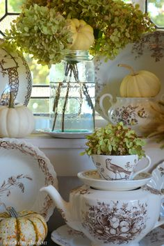 I love brown transferware anytime of year but fall is when it really shines. I pulled my small collection together to give them theirdue for a little touch of fall on a window shelf in the Potting…