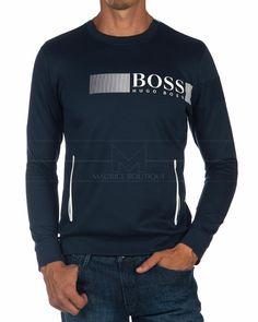 Sudadera Hugo Boss Cuello Redondo - SalTech Hugo Boss, T Shirt Printer, Surf Wear, Mens Activewear, Polo T Shirts, Apparel Design, Men Dress, Shirt Designs, Men Sweater