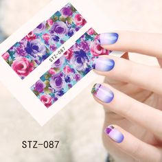 1sheets Women Charm Nail Art Beauty Purples Image Printing Water Transfer Stickers Nail Decals Watermark Designs Tools STZ087