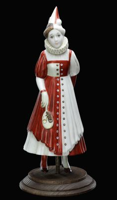 Red and White Pierretta (Biscuit Porcelain) Alexandra Gallery