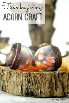 Thanksgiving acorn craft, perfect kids' party favors! See more Thanksgiving ideas at CatchMyParty.com.. #thanksgivingcraft #thanksgivingdecorations #partyideas