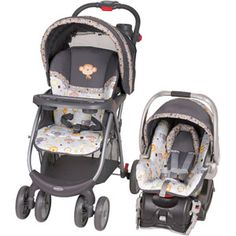 Baby Trend Envy Travel System, Bobbleheads, so adorable and the perfect neutral baby theme that can be mixed with any animal and a jungle theme.. and I love the grays and soft blue. Makes me want a baby right this minute.