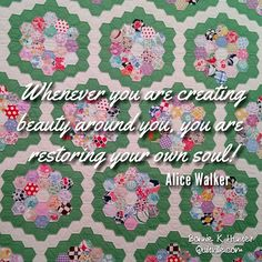 Spend a little time every day creating something beautiful! Vintage grandmother's flower garden quilt shared by a student during the Needle Art seminar at the Grand Hotel on Mackinac Island, Michigan this past week. #quilt #quilting #patchwork #quiltville #bonniekhunter #vintagequilt #antiquequilt #deepthoughts #wisewords #wordsofwisdom #quiltvillequote #inspiration