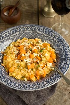 Roasted Pumpkin Risotto with Blue Cheese and Toasted Pine Nuts