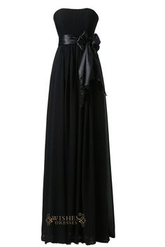 Strapless Black Chiffon Long Bridesmaid dress,wedding party dress,this dress with elastic satin belt at waist and the bowknot can be pin at back.Neckline:Slight