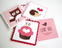 """Cute Valentine's Day Tags with so many darling Valentine's images such as owl, bird, squirrel, bee, cupcake, flower and many more.  You'll receive 12 (twelve) adorable Valentine's Day Gift Tags.   Each square scallop tag measures 2.25"""" x 2.25"""".   This set is NOT personalized, but we sure CA..."""