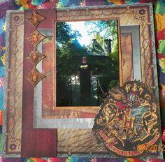 Handmade Scrapbook layout:  Hagrid's Hut, The Wizarding World of Harry Potter, Florida, Universal Studios, Creative Imaginations-harry Potter