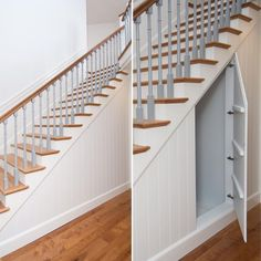 Hidden door storage under stairs - suitcases? Storage Under Staircase, Under Stairs Storage Solutions, Stairway Storage, Closet Under Stairs, Under Stairs Cupboard, Basement Stairs, Space Under Stairs, Cupboard Doors, Closet Door Storage