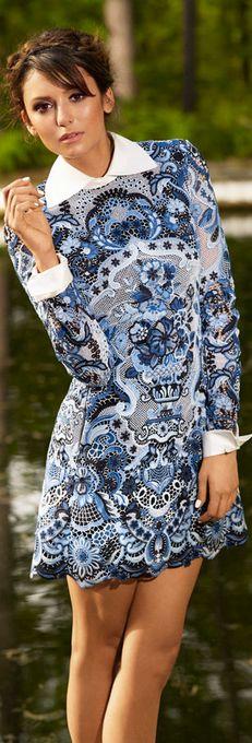 Blue print long sleeve dress