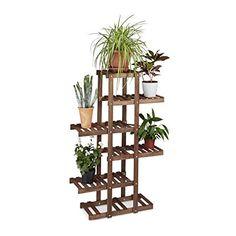 Relaxdays porta fiore in legno, 5ripiani, indoor Plant stand, multi-tier, AxLxP: 125x 81x 25cm, marrone scuro